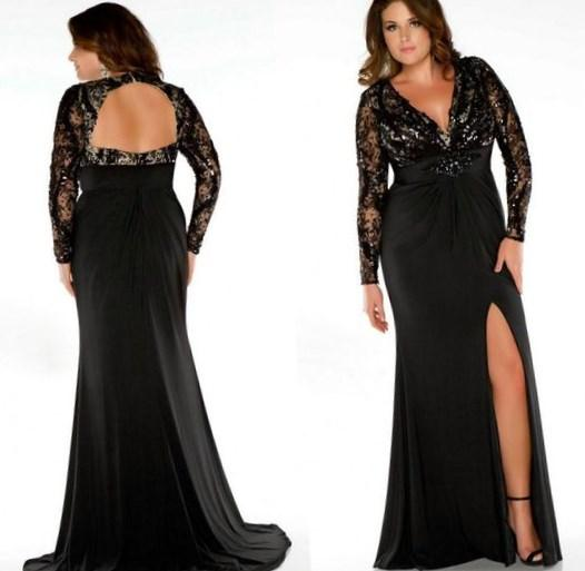 USA based dress company offering Sexy Black Jersey Evening Gowns for Plus Size women. This