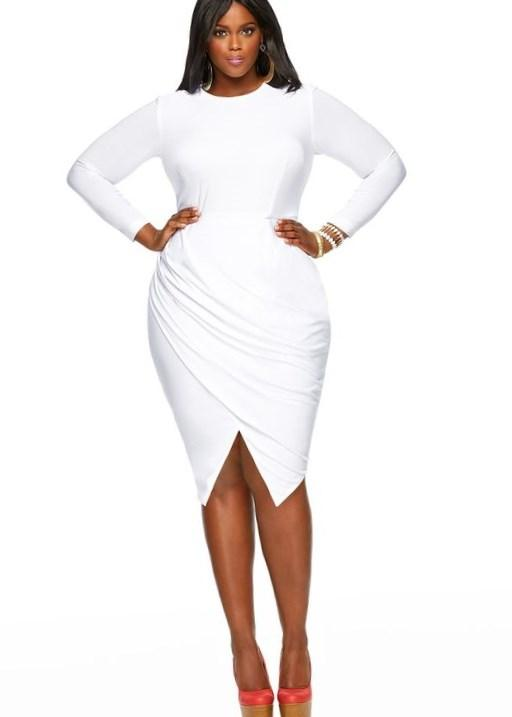 Plus Size White Wrap Dress Pluslook Eu Collection