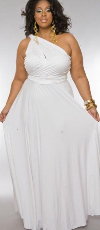 White dresses cheap plus size