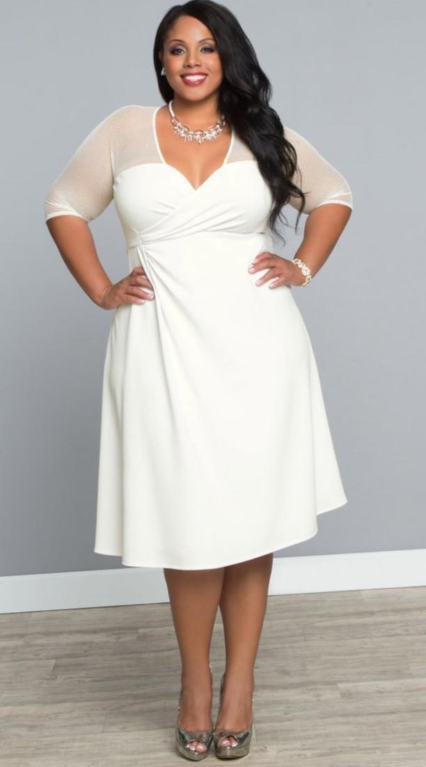 Trendy plus size white dresses