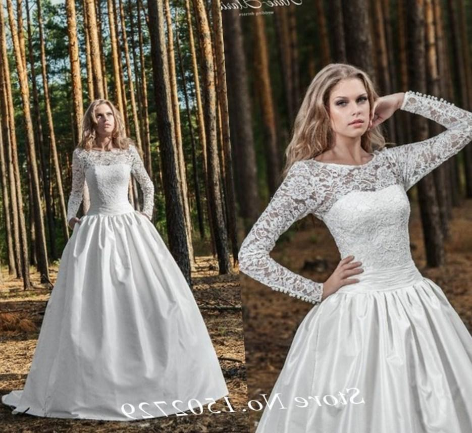 Bateau Fit and Flare Wedding Dress in Lace. Bridal Gown Style Number:33299371
