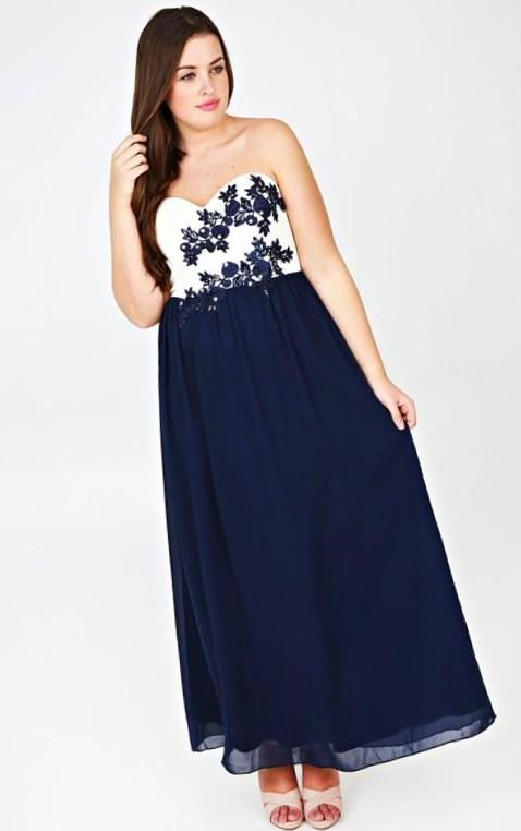 Navy And Ivory Chiffon Bustier Maxi Dress With Floral Applique