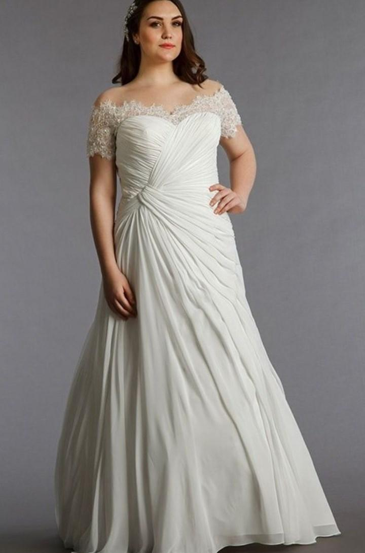 Off the shoulder plus size wedding dresses pluslookeu for Plus size off the shoulder wedding dress