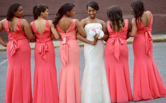Custom Made Plus Size Coral Bridesmaid Dresses Elegant Mermaid Bow Back Plated Long Bridesmaid Formal Party