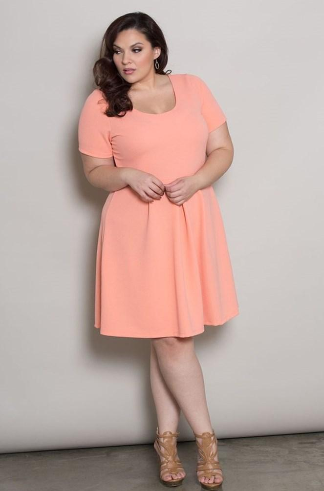 Peach Plus Size Dress Keninamas