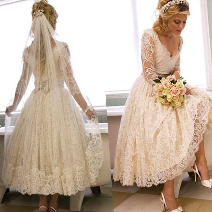 Plus Size Wedding Dresses With Sleeves Tea Length