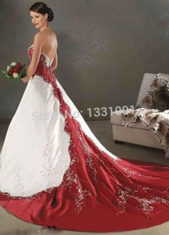 Real Photo Sweetheart Court Train White and Red Satin Wedding Dress Wedding Gown Plus Size Vestidos