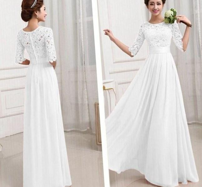 2017 women summer dress ladies temperament chiffon maxi sexy dress plus  size vstinus white lace bohemian - Plus Size White Chiffon Maxi Dress - PlusLook.eu Collection