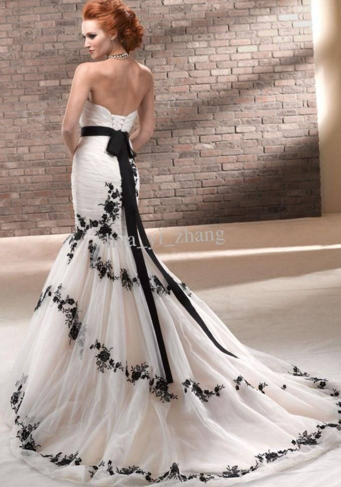 White And Black Strapless Lace Tulle With Sash Inside Mermaid Ivory Lace Mermaid Sweetheart Wedding Dress