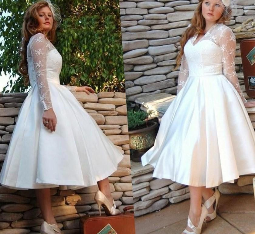 Custom Made Plus Size Vintage Short White Wedding Dresses Gowns With Long Sleeves Bridal Dress Ball Sheer Neck Satin Garden Illusion Cheap Online with