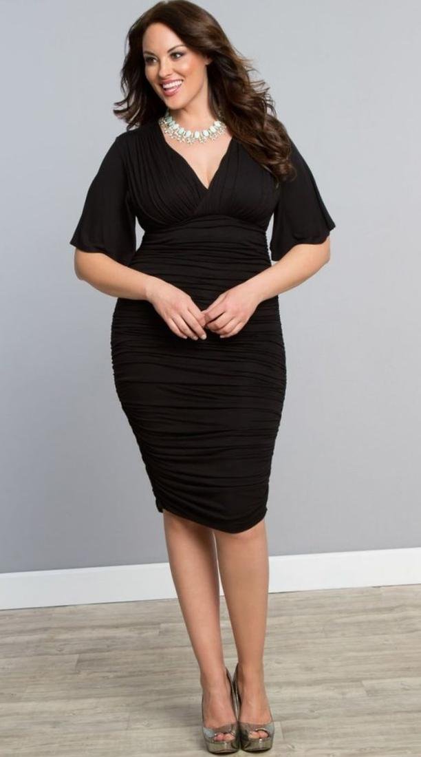 Plus size ruched dresses collection for Plus size midi dresses for weddings