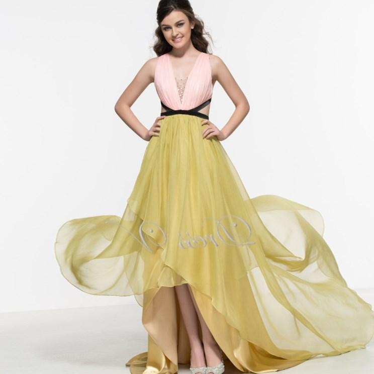 Pink And Yellow Backless High Low Prom Dresses 2017 Sexy Chiffon Plus Size Party Gown Crystal