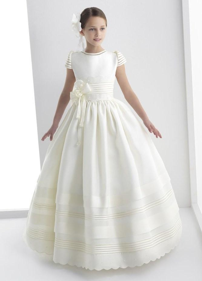 2017 New Ball Gown Flower Girl Dresses with Bow Girls Pageant Gown First Communion Dresses For Girls QA760