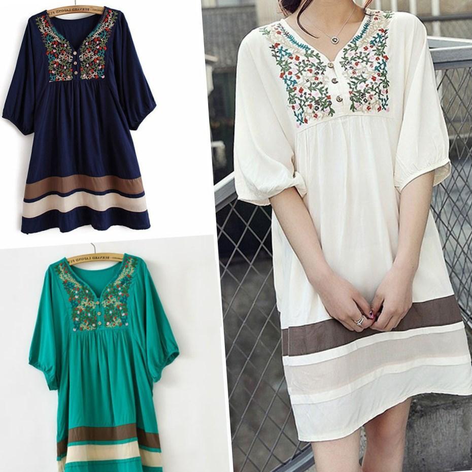 Старинные мексиканская цветок вышивка мини платья женщин платье блузка повседневные платья плюс Размер Женская одежда Vestidos