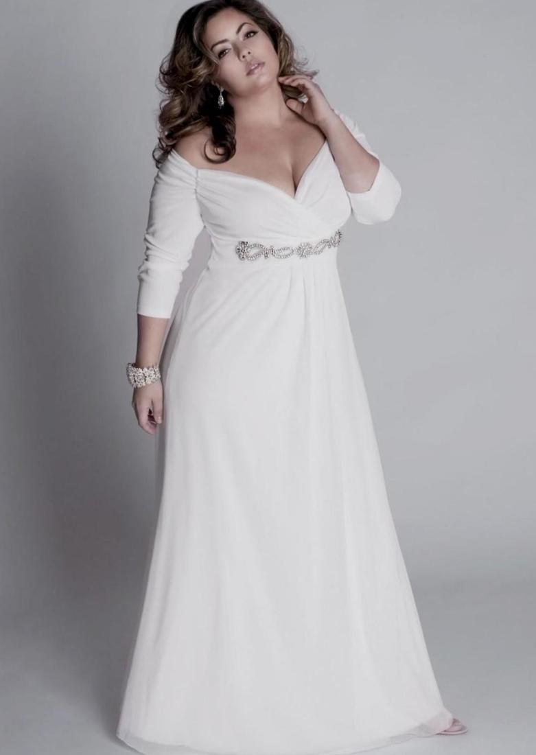 Long white dress plus size collection for Long sleeve casual wedding dresses