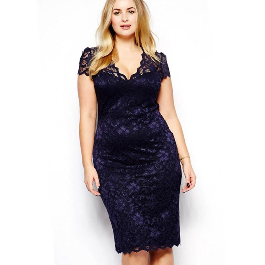 Valentina Lace Illusion Cocktail Dress - Black/Burgundy (Womens Plus Size)