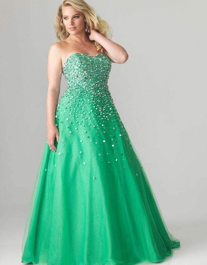 Plus Size Prom Dresses - Green Sequined Tulle  Charmeuse Strapless Plus Size Prom Gown -