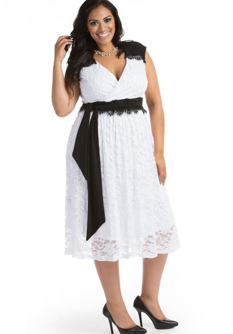Berenice Plus Size Lace Dress in White - Plus Size Evening and Cocktail Dresses by IGIGI