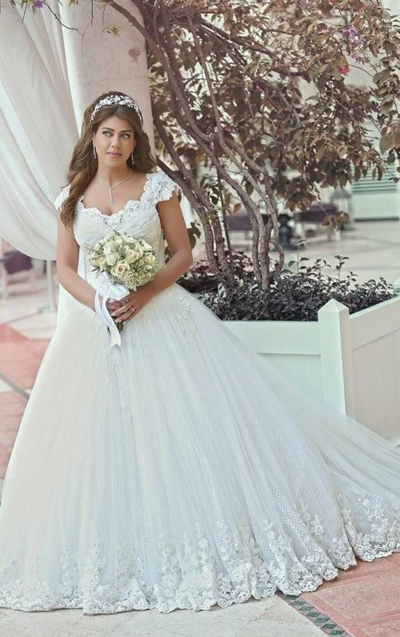 plus size wedding dresses with cap sleeves pluslookeu