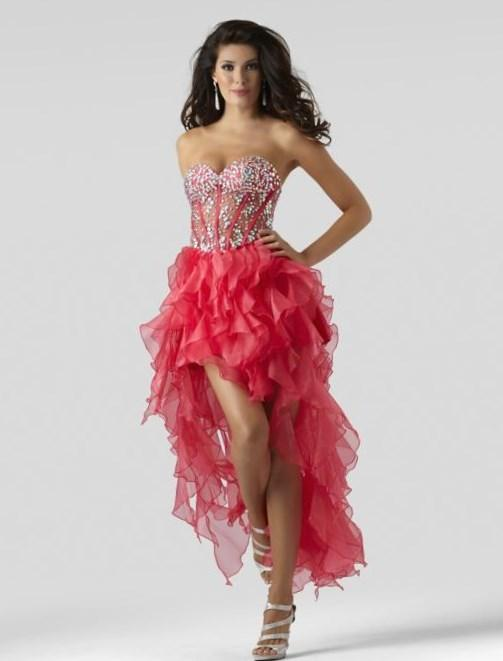 Sexy High Low Organza Formal Dress Homeecoming Dress/Plus Size Prom Dress Clarisse 615