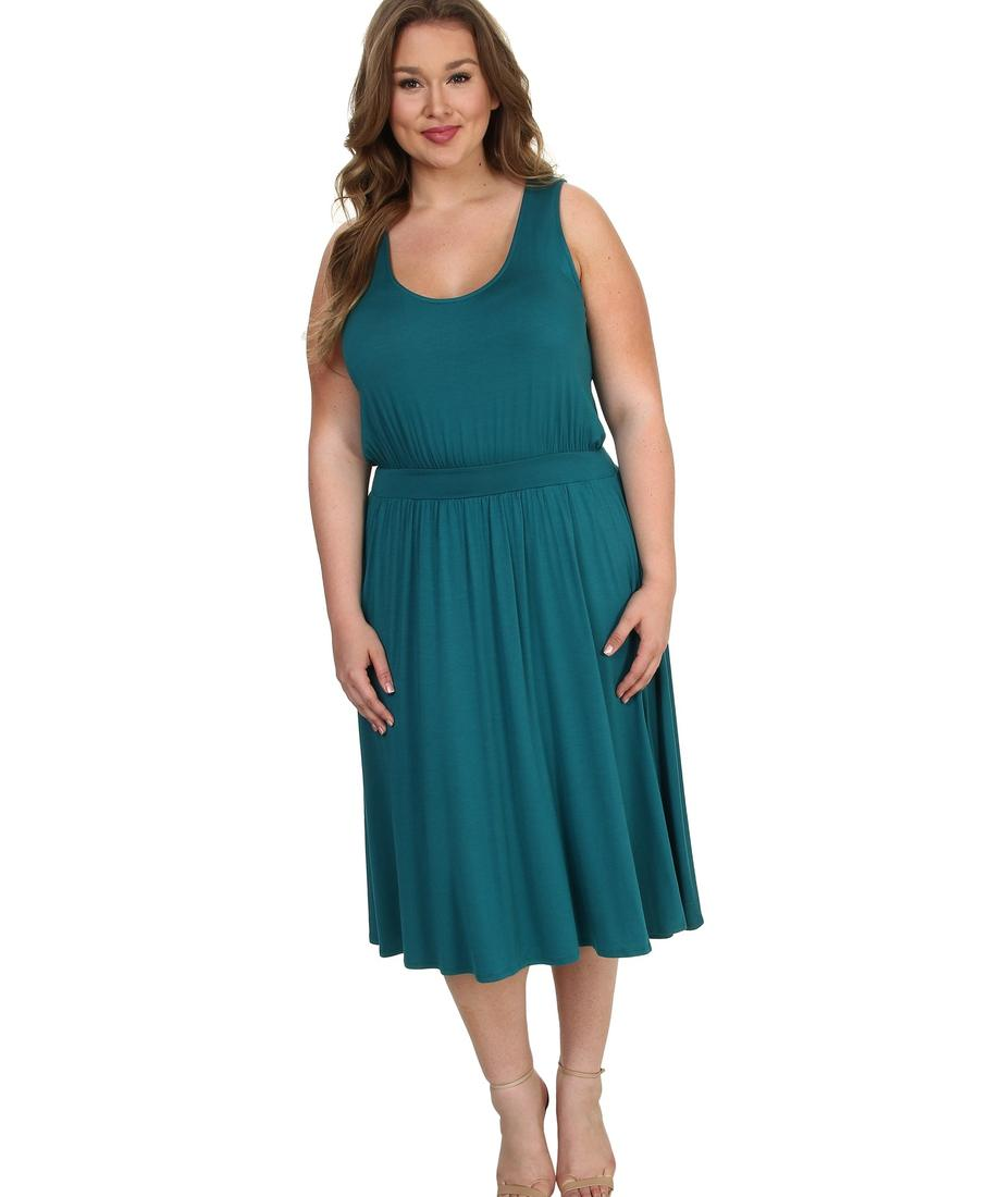 Adrianna Papell - Plus Size One Shoulder Bead Blouson Gown