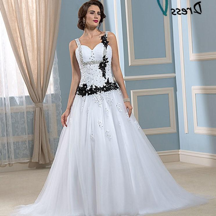 Black and White Gothic Wedding Dress Plus Size Satin Embroidery Garden Wedding Bridal Dresses Lace Up Back