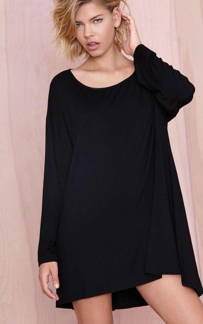More Views. Plus Size 1950s Style Black Short Sleeve Stretch Knit Bella Swing Dress