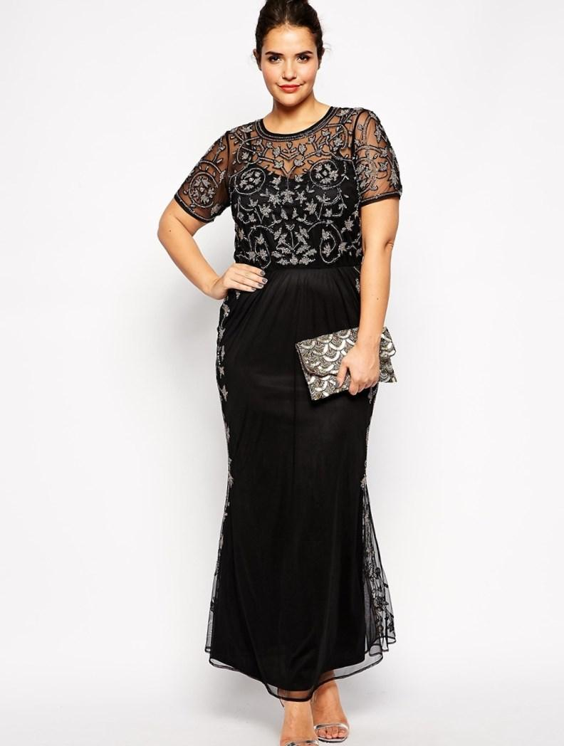Plus size long black evening dresses