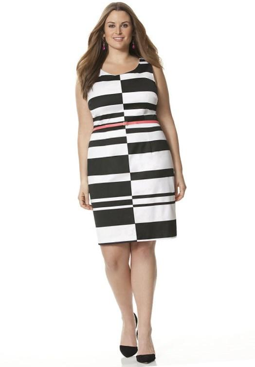 Lane Bryant, available in Plus Size. Sexy black  white graphic sheath dress is a true statement-maker with a bright color pop belt as the centerpiece.