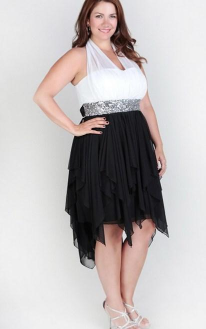 Cheap Plus Size Illusion Halter Dress With Sequins And High Low \u2026