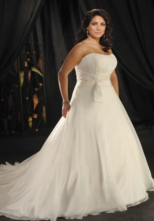 Pure White Chiffon Plus Size Wedding Dress With Off The Shoulder