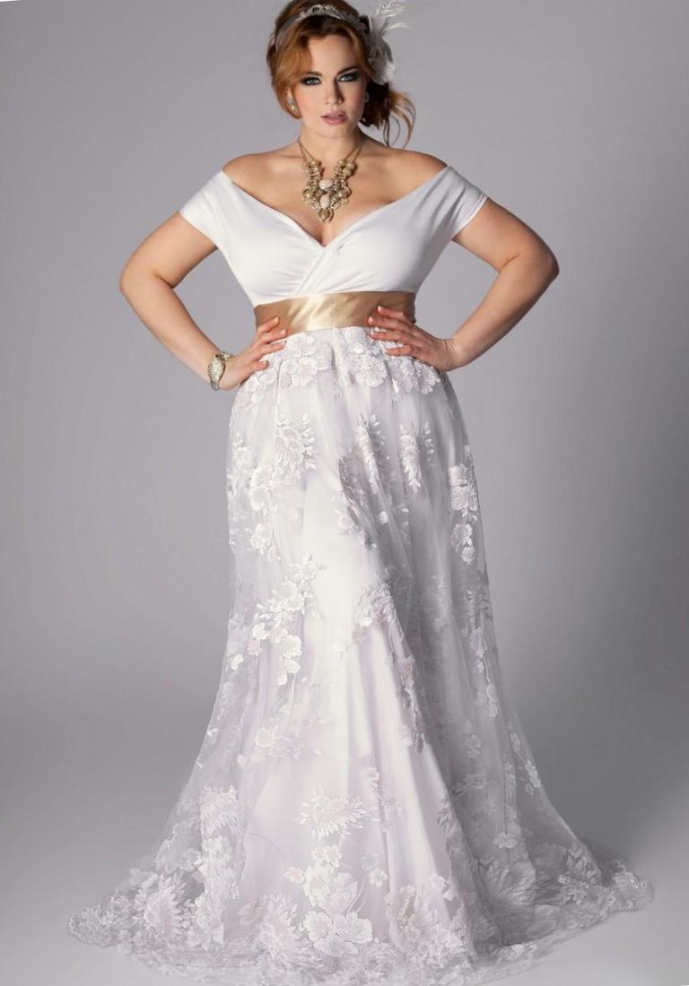 Gold wedding dresses plus size collection for White and gold lace wedding dress