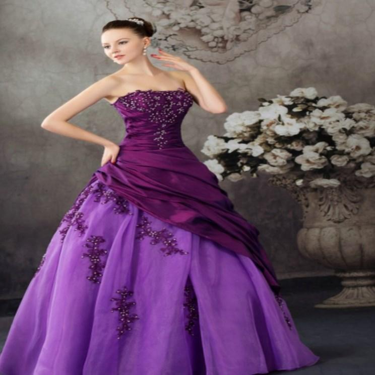 Aliexpress Buy Purple Ball Gown Wedding Dresses Plus Size Purple Wedding Dresses