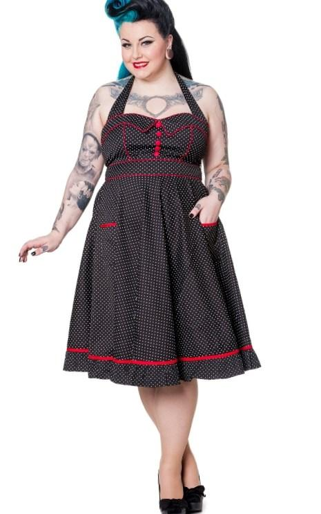 Hell Bunny Plus Size Rockabilly Black  White Polka Dot w Red Trim Pinup Vanity Dress