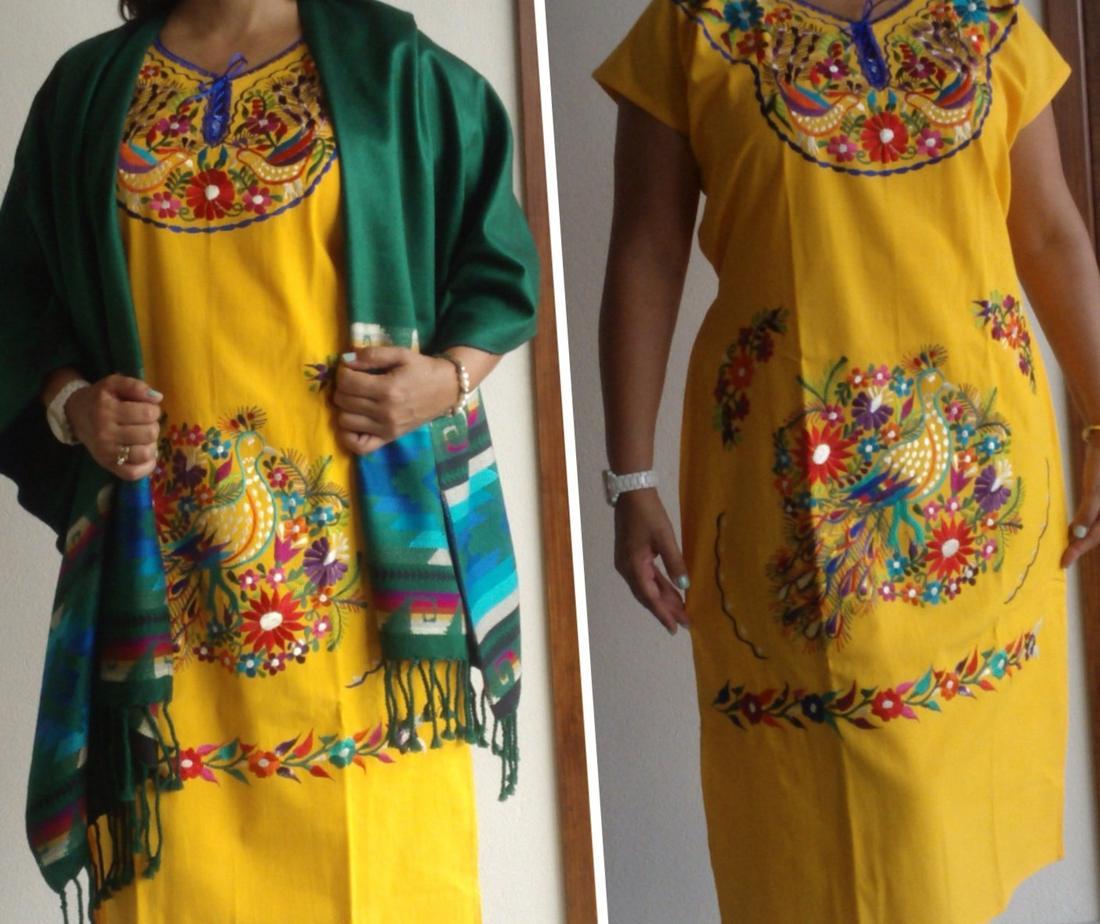 Самое Удивительное Красивое Ручное Вышитое Кимоно / Туника Стиль Мексиканское Платье
