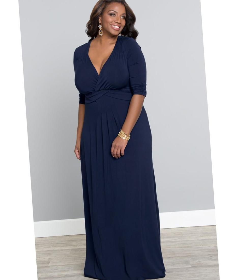 Navy blue maxi dress and plus size