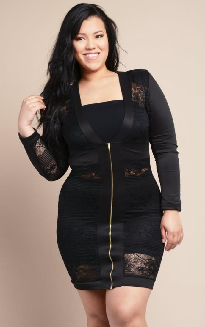 Image 4 of Praslin Plus Size Sleeveless Bodycon Dress With Lace Detail  Side Split