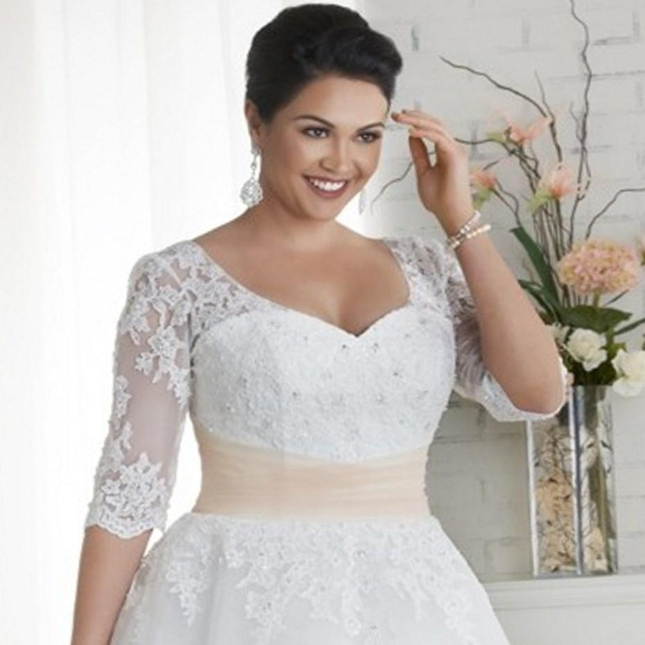 Tea Length Plus Size Bridal Dresses 66