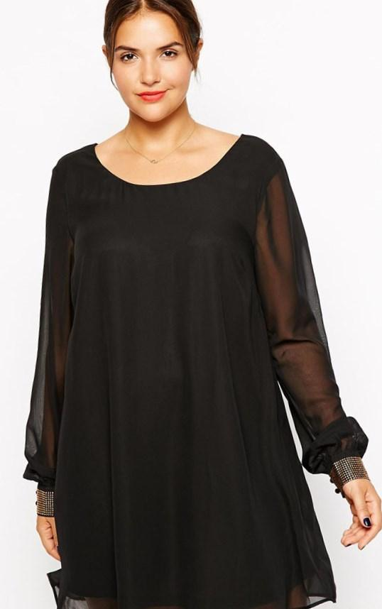 Casual Black Chiffon Dress