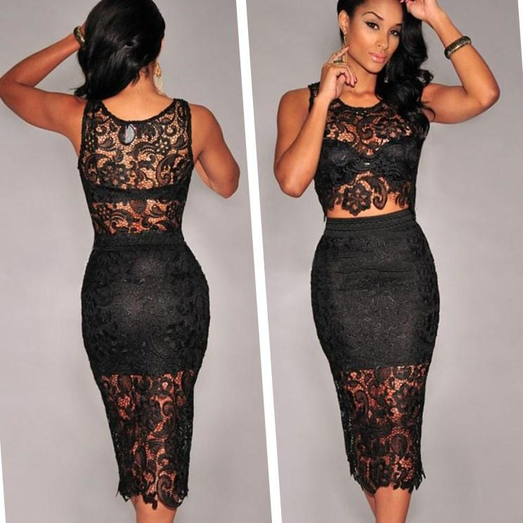 Wholesale - plus size dresses women Sexy Two Pieces Dresses Top and Bottom Floral Lace clothing Set Party Dress