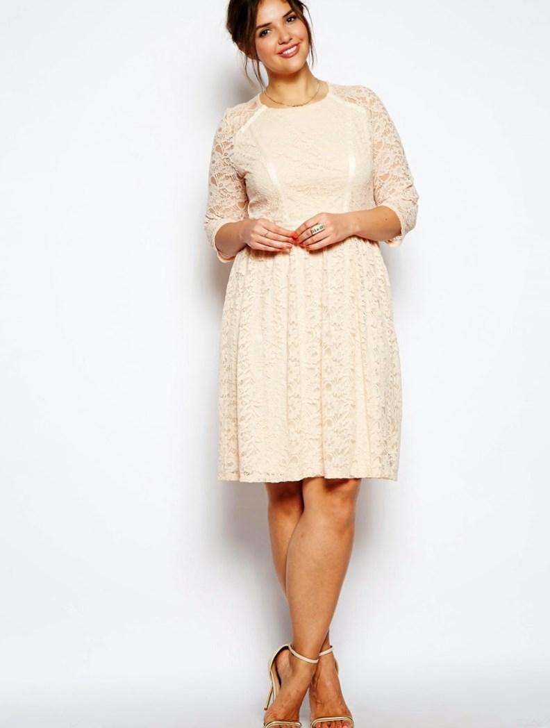 Modest Bateau Long Sleeve Zip up Chiffon-Satin Lace Plus Size  Dresses