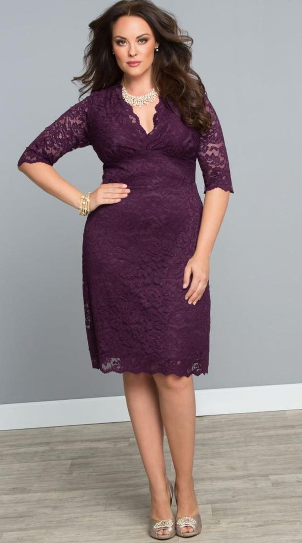 Our plus size Scalloped Boudoir Lace Dress in Piercing Plum is the right amount of class