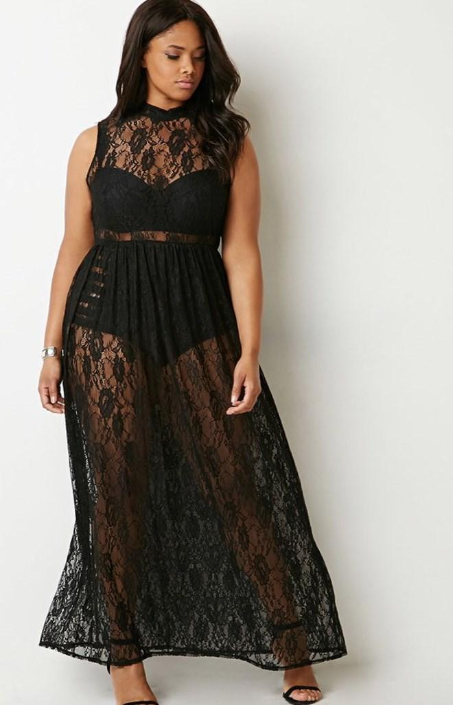 Long sheer lace maxi dress