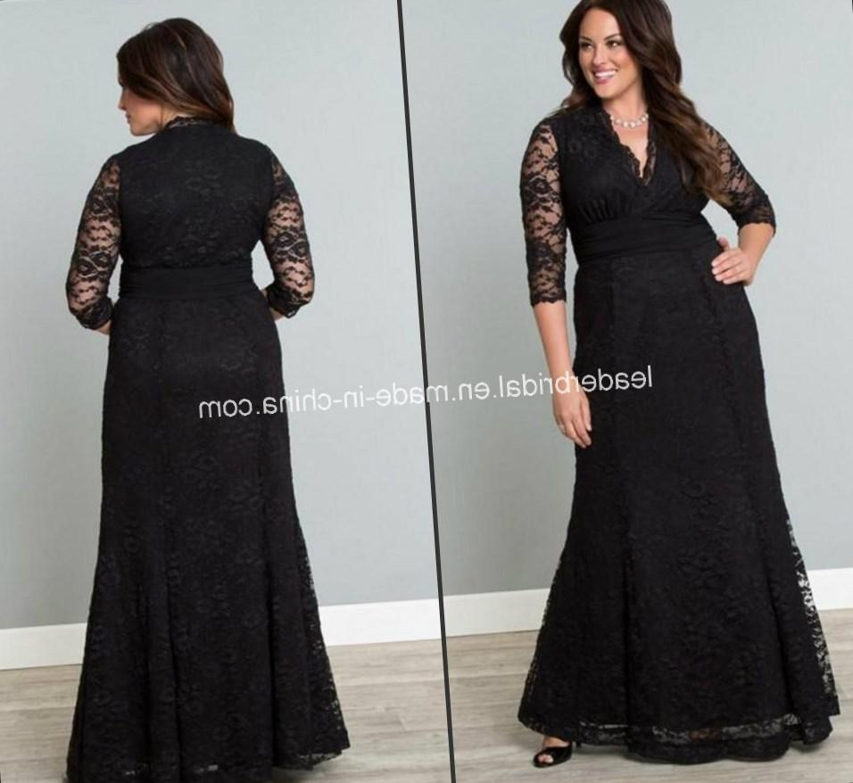 Plus Size Mermaid Prom Dresses 2017 Sheer Neck Long Sleeves Sequins Organza Custom Made Black Dress