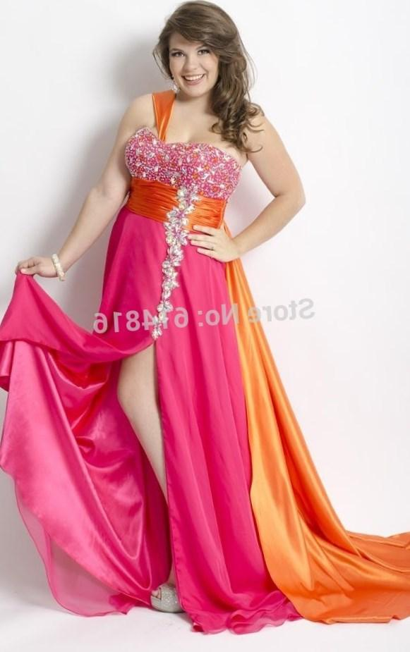 Plus Size Long Chiffon Prom Dresses 2018 With Crystals Sweetheart One Shoulder Big Size Girls Party