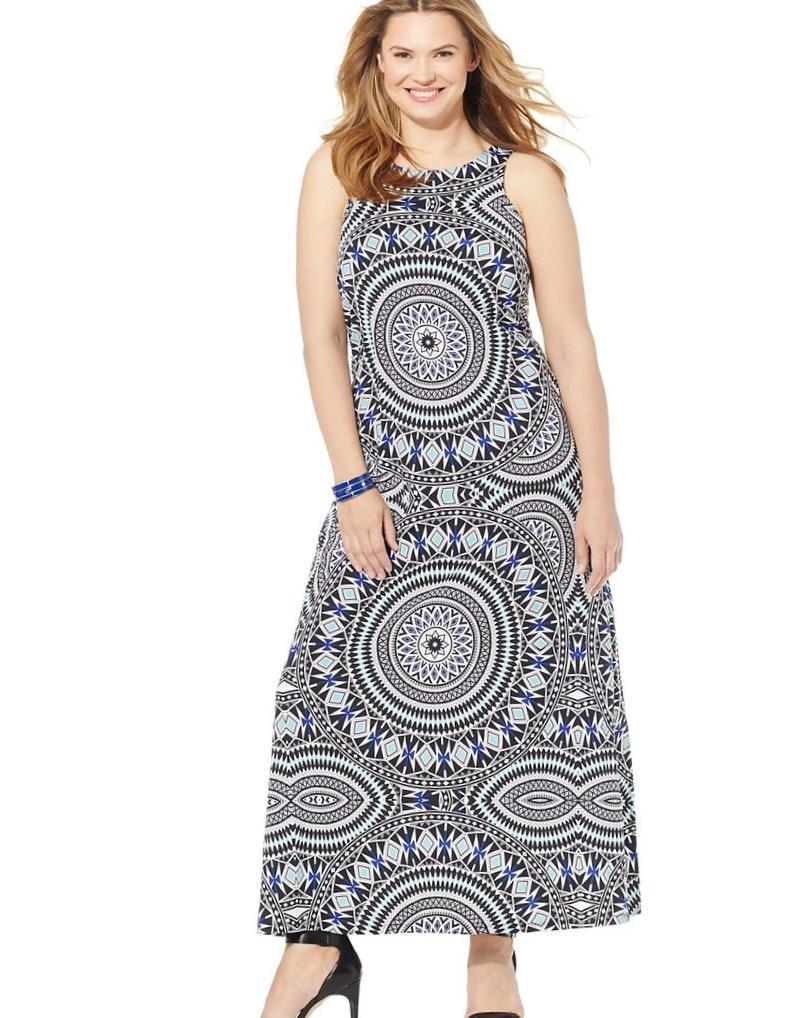INC International Concepts Plus Size Printed Belted A-Line Dress - Dresses - Plus Sizes