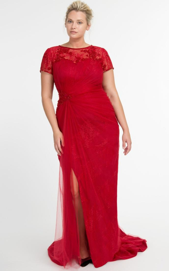 Plus size long sleeve red dresses