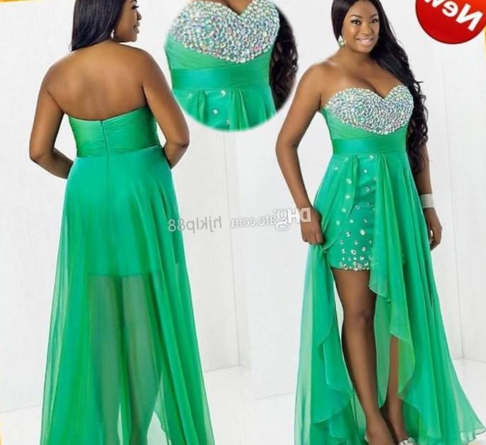Custom Plus Size HOT Sale Green Sweetheart Chiffon High Low Crystal Bling 2017 Chiffon Short Evening Dress Prom Party Formal Dresses Gown, $95.8