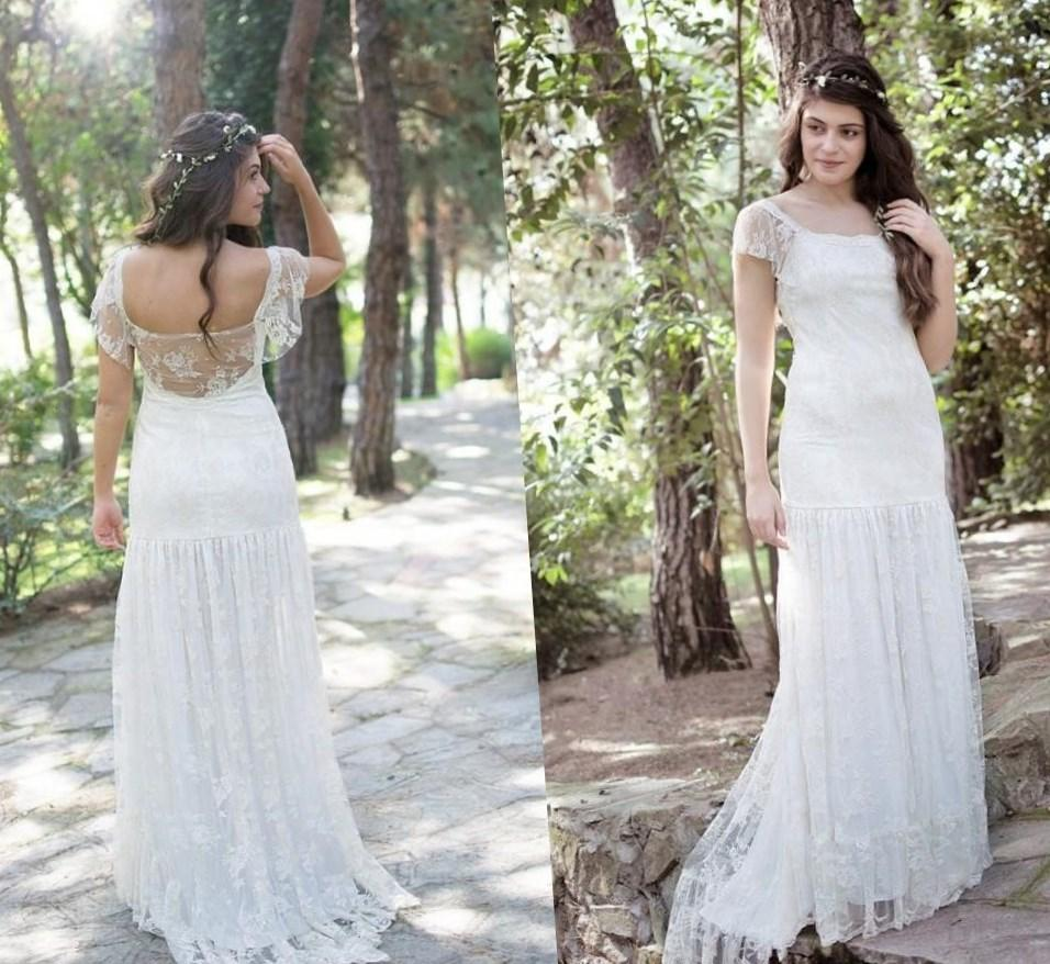 Lace Illusion Neckline Button Back Wedding Dress Plus Size Boho and Rustic vestidos de novia Wedding dress