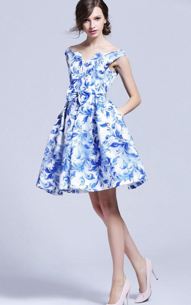 Blue and white plus size dress - PlusLook.eu Collection